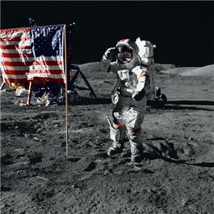 Apollo 17 Gene Cernan+Flag