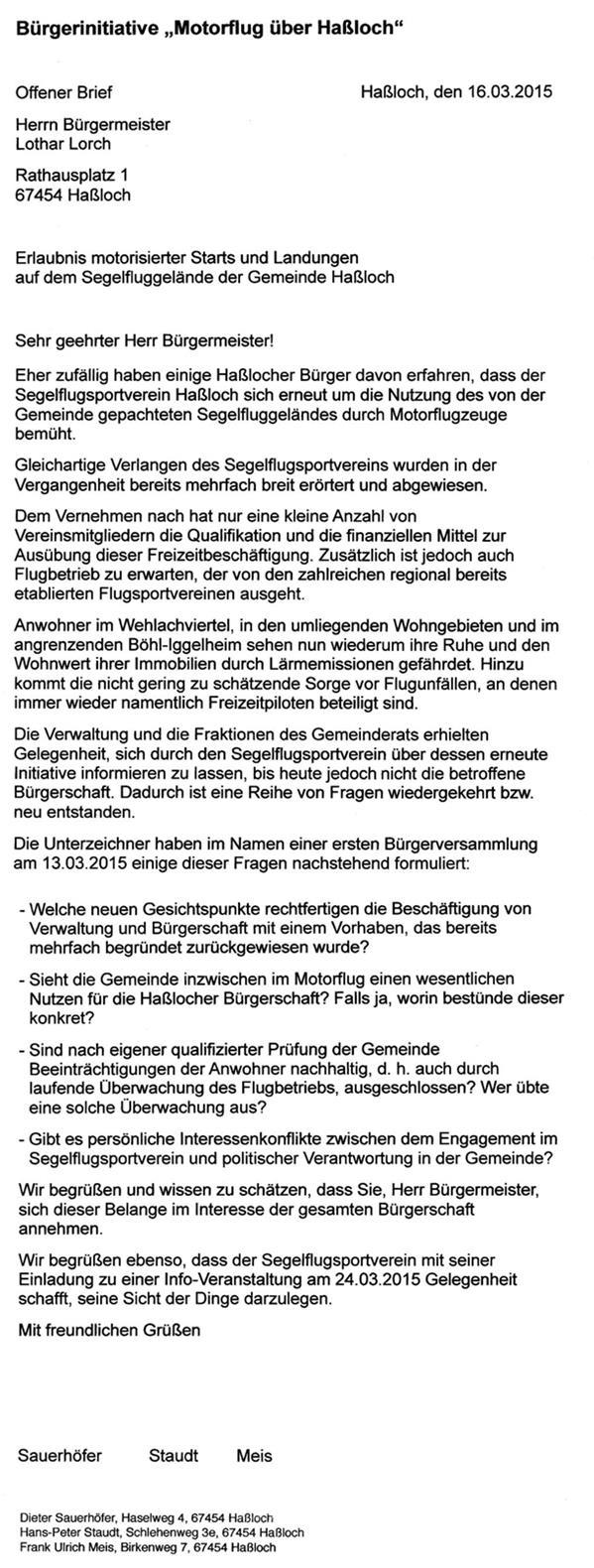 """Offener Brief der Bürgerinitiative """"Motorflug über Haßloch"""""""